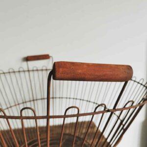 Delightful big old Apple harvesting metal basket. Log carrier