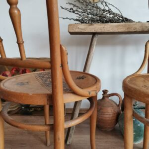 Rare Josip Povischil bentwood dining chairs with decorative details, Set of two