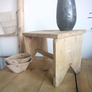 A very old restored milking stool primitive original 1900s little table
