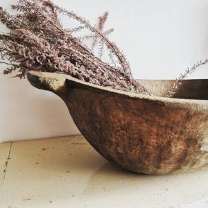 Vintage Antique Stunning Hungarian Wooden Round Dough Bowl