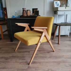Bunny Armchair Designer Mid Century Lounge Chair With Beech Frame Mustard Upholstery