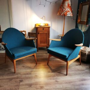 Vintage Mid Century Timber Framed German Cocktail Tub Chair, c1950