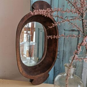 Stunning Vintage Antique Hungarian Wooden Round Dough Bowl with fitted mirror