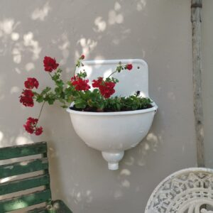 Unique Beautiful Vintage Cast Iron, White, Heavy Wall Sink, Garden Planter Decor