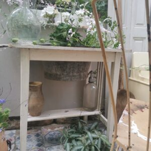 Vintage rustic European wooden wash stand, white chippy paint
