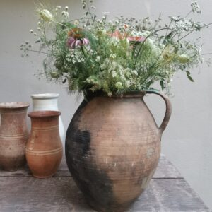 Large Tubby Hungarian Vintage terracotta earthenware clay jug