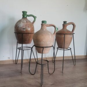 Beautiful antique set of 3 terracotta pots from central europe