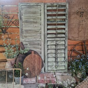 Antique Vintage Shutters, set of 2. louvered shutters from wine house