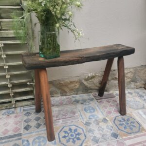 Rustic bench made from old wine barrel