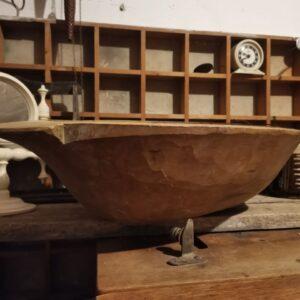 Vintage Antique Hungarian Wooden Round Dough Bowl, Farmhouse Decor, Baking Equipment