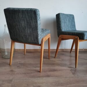Polish Vintage Aga chair in blue tweed c1960s Józef Chierowski, set of two