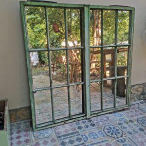 Fabulous Green Antique Rustic Cast Iron Barn Window Restored Mirror
