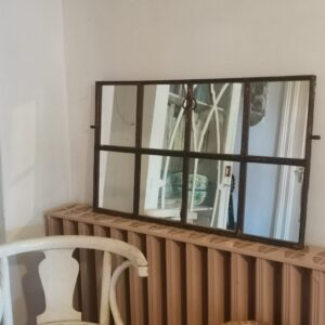Rustic Antique Cast Iron Upcycled Barn Window Restored Mirror