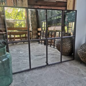 Rustic Antique Delightful Barn Window Upcycled w/ Mirrors, cast iron