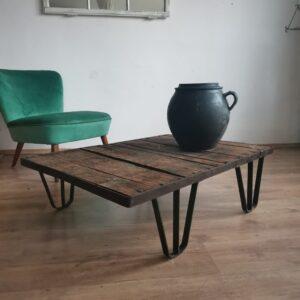 Cast iron and hardwood railway pallet table c1940s